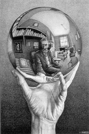 etching of hand holding reflective globe.